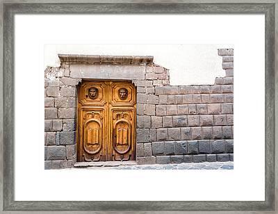 Inca Stonework And Wooden Door Framed Print by Jess Kraft
