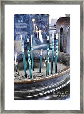 Incense In Nara Framed Print by Andy Smy
