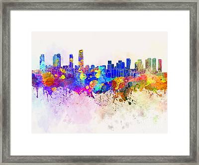 Incheon Skyline In Watercolor Background Framed Print
