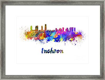 Incheon Skyline In Watercolor Framed Print
