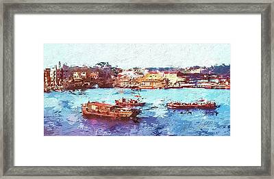 Framed Print featuring the digital art Inchon Harbor by Dale Stillman