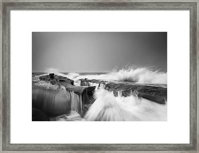 Incoming  La Jolla Rock Formations Black And White Framed Print by Scott Campbell