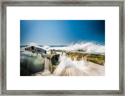 Incoming  La Jolla Rock Formations Framed Print by Scott Campbell
