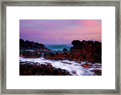Incoming Wave Framed Print by Mike  Dawson