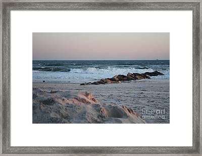 Incoming Winter Tide At Long Beach Framed Print