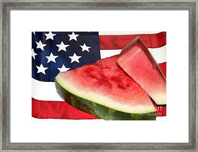 Independence Day And Watermelon Framed Print by Diann Fisher