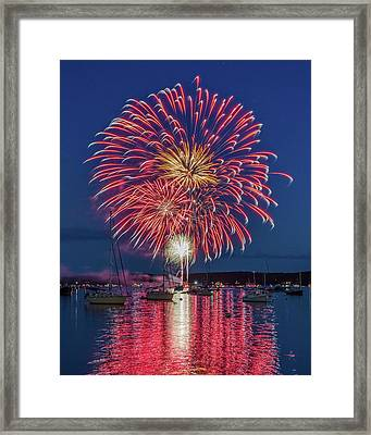 Independence Day Fireworks In Boothbay Harbor Framed Print