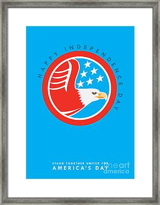 Independence Day Greeting Card-american Bald Eagle  Framed Print