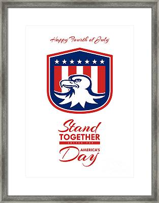 Independence Day Greeting Card - American Bald Eagle Head Flag Framed Print