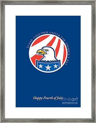 Independence Day Greeting Card-american Bald Eagle Head Side Framed Print by Aloysius Patrimonio