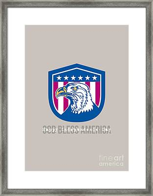 Independence Day Greeting Card-american Bald Eagle Head Side Stars  Framed Print
