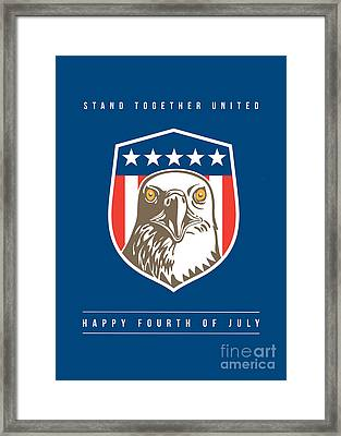 Independence Day Greeting Card-american Bald Eagle Head Stars Shield Framed Print