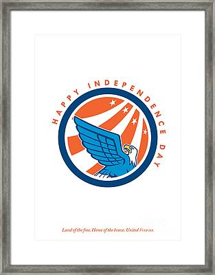 Independence Day Greeting Card-american Eagle Flying Looking Up  Framed Print