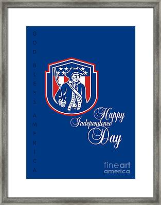 Independence Day Greeting Card-american Patriot Holding Bayonet Rifle Framed Print