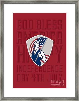 Independence Day Greeting Card-american Patriot Holding Usa Flag Shield Framed Print by Aloysius Patrimonio