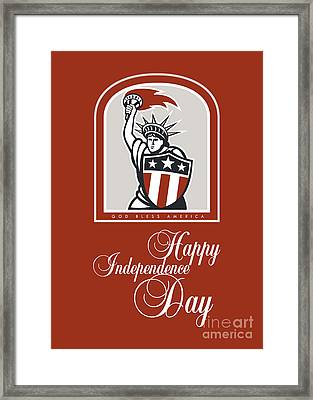 Independence Day Greeting Card-statue Of Liberty With Flaming Torch Shield Framed Print