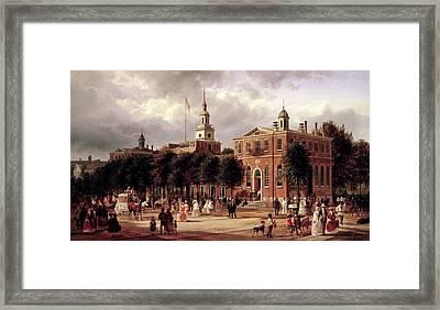 Framed Print featuring the painting Independence Hall by Ferdinand Richardt