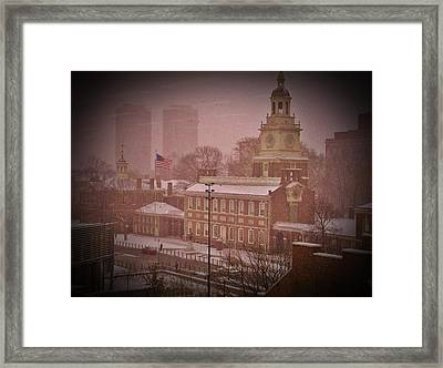 Independence Hall In The Snow Framed Print by Bill Cannon
