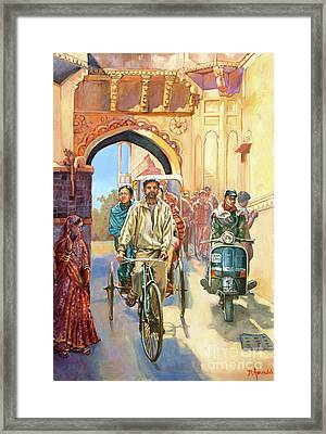 India Street Scene With A Bicycle Rickshaw Framed Print by Dominique Amendola