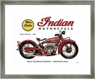 Indian 101 Scout, 1928, Motorcycle Sign, Vintage, Original Art Framed Print