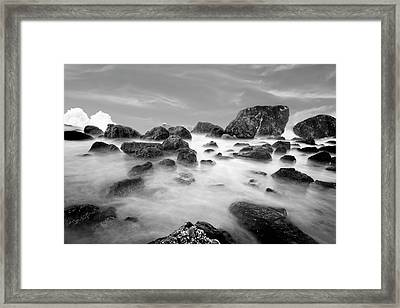 Indian Beach, Ecola State Park, Oregon, In Black And White Framed Print