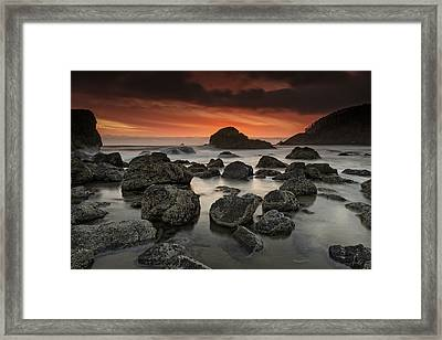 Indian Beach Sunset Framed Print by Rick Berk