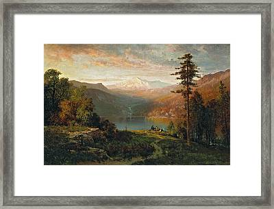 Indian By A Lake In A Majestic California Landscape Framed Print
