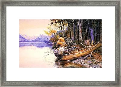 Indian Camp Lake Mcdonald Framed Print by Pg Reproductions