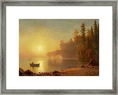 Indian Canoe Framed Print by Albert Bierstadt