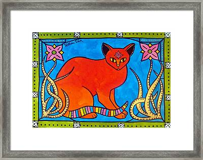 Indian Cat With Lilies Framed Print by Dora Hathazi Mendes
