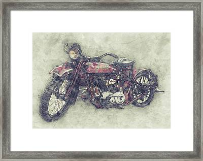 Indian Chief 1 - 1922 - Vintage Motorcycle Poster - Automotive Art Framed Print