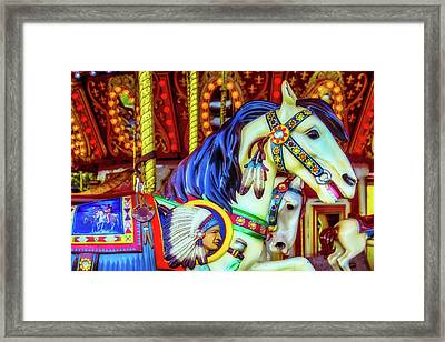 Indian Chief Carrousel Horse Framed Print