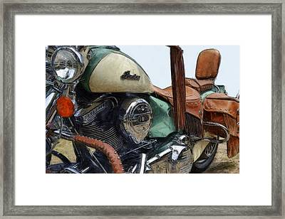 Indian Chief Vintage L Framed Print by Michelle Calkins