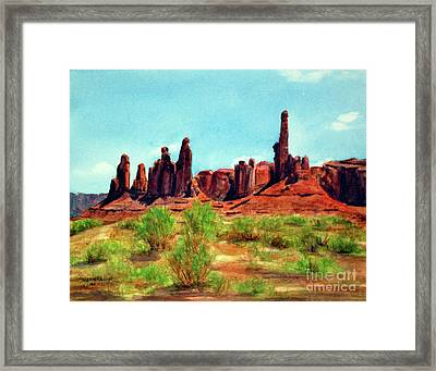 Indian Dancers And Totem Pole Framed Print