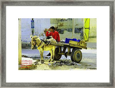 Indian Donkey Cart Owner H A Framed Print by Gert J Rheeders