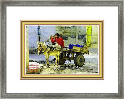 Indian Donkey Cart Owner H A With Decorative Ornate Printed Frame. Framed Print
