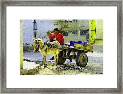 Indian Donkey Cart Owner H B Framed Print by Gert J Rheeders