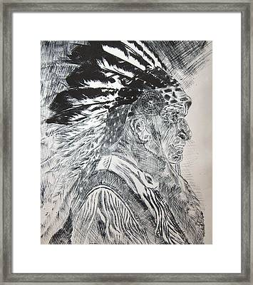 Indian Etching Print Framed Print by Lisa Stanley