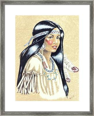 Indian Girl Framed Print by George I Perez