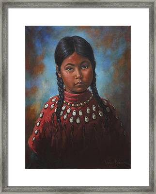 Indian Girl Framed Print by Harvie Brown