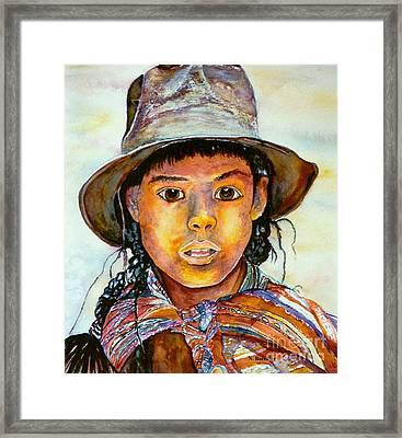 Indian Girl Framed Print by Norma Boeckler