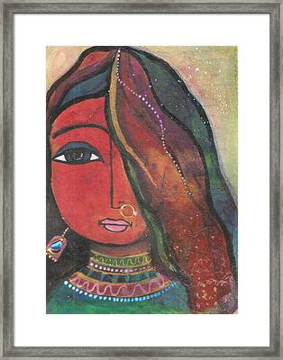 Framed Print featuring the mixed media Indian Girl With Nose Ring by Prerna Poojara