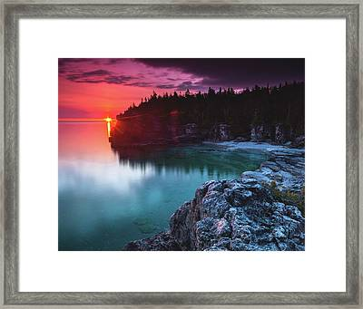 Indian Head Cove Sunrise Flare Framed Print