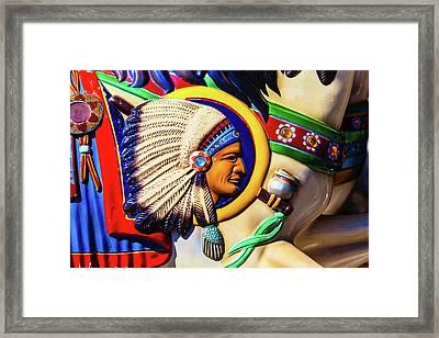 Indian Head On Carrousel Horse Framed Print