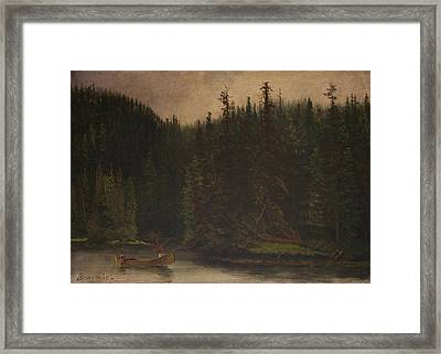 Indian  Hunters  In  Canoe Framed Print by Celestial Images