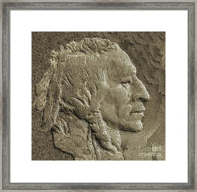 Indian In Stone   Framed Print by Randy Steele