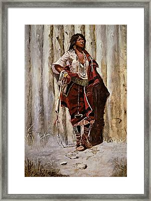 Indian Maid At The Stockade Framed Print by Charles Marion Russell