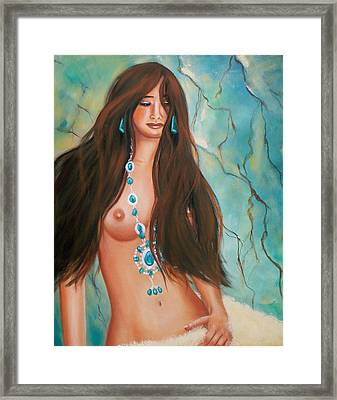 Indian Maiden In Turquoise Framed Print by Joni McPherson