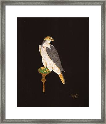 Indian Miniature Falcon Art Handmade Painting In Relief With Gold  And Gem Stones Framed Print