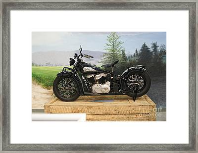 Indian Motorcycle  Black And White   # Framed Print by Rob Luzier